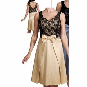 Black Lace & Gold Midi A-Line Dress with Bow